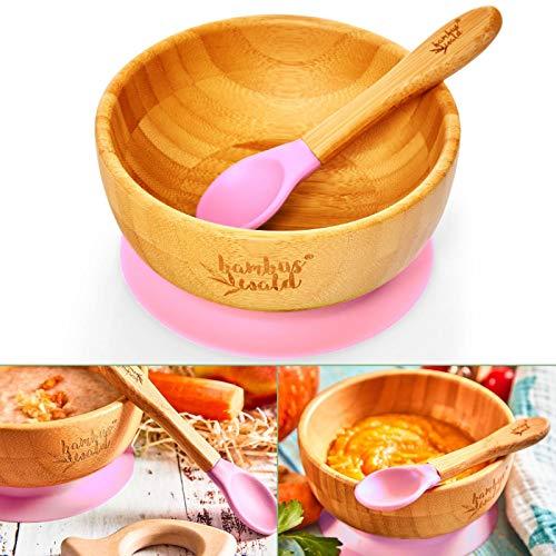 bambuswald© ökoligsches Saugnapf-Schüssel inkl. Löffel für Babys & Kleinkinder | 100% nachhaltige Schale aus Bambus - Standfeste Fütter-Schüssel Geschirr-Set für Kinder Teller Babies