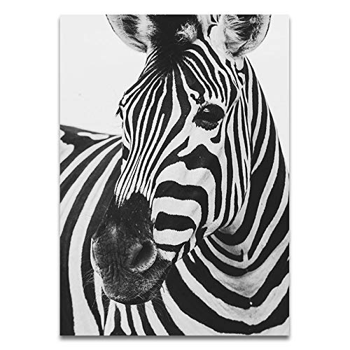 JXMK Spotted Lion Giraffe Rhino Black and White Animal Canvas Painting Art Poster Wall Nordic Decoration 40x50cm Frameless