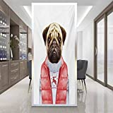 Glass sticker Window film W 23.6' x L 47.2' Privacy Decorative Window Stickers,Home Office Glass Door Sticker,Pug,Red Vest and Christmas Sweater on a Adorable Dog Hand Drawn Animal Fun Image,Pale Brow