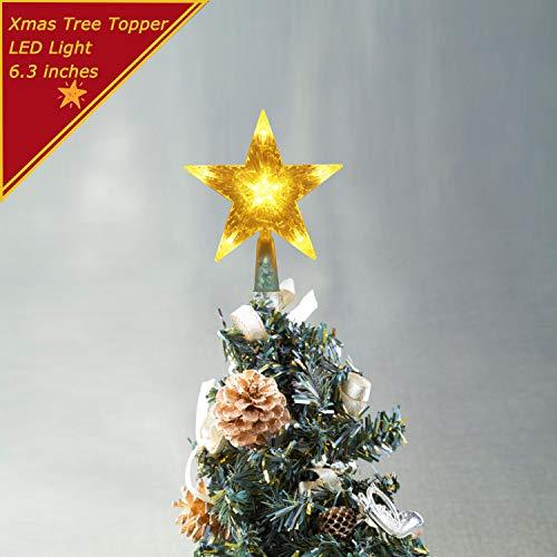 Weekend&Lifecan baumspitze Weihnachten Stern, baumspitze Weihnachten beleuchtet, weihnachtsbaumspitze led, christbaumspitze led, weihnachtsstern tannenbaumspitze