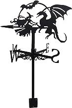 yahede Metall väderflagga häxa flygande drake vindflagga prydnad trädgårdsdekoration trädgård stolpe för europeisk retro i...