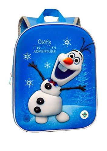 Disney- Mochila Frozen Una Aventura De Olaf 3D con Luz Y Sonido 24 X 32 X 9 Cm, Color Azul, 32 cm (T350-065)