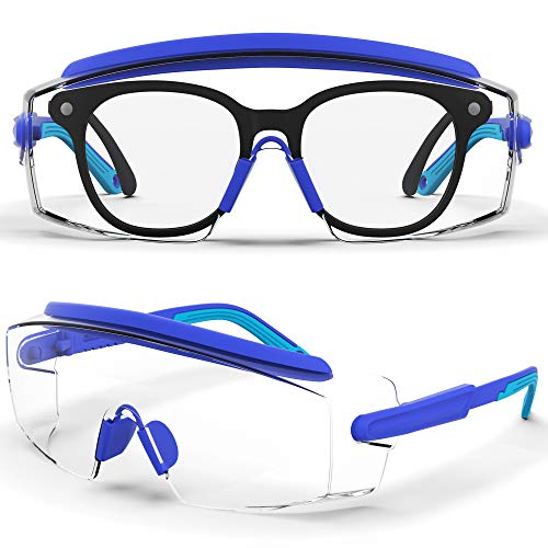 Safety Glasses Anti Fog Large Safety Goggles Over Glasses Clear Glasses Side For Protection Adjustable Frames Suitable For More People (Blue1pair)