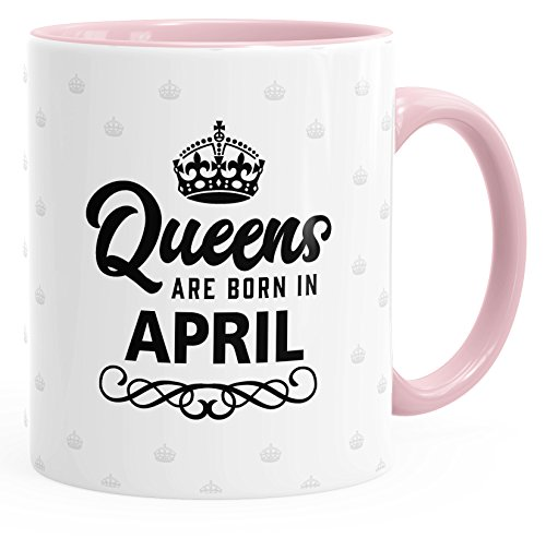 MoonWorks Queens Are Born in April Geburtstags Spruch Kaffee-Tasse rosa Unisize
