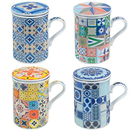 Decor And Go Mugs Con Filtro Diferentes Diseños Incluye 4 Unidades Cocina Mugs Y Vasos Colección Vintage