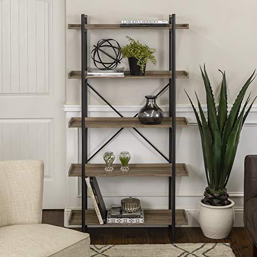 Walker Edison 5 Shelf Industrial Wood Metal BookcaseTall Bookshelf Storage Home Office Grey/Brown68...