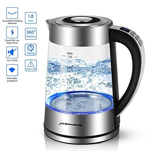 XCSOURCE Hervidor de Agua Eléctrico, Hervidores de Cristal y Calentador de café con luz indicadora de LED Azul, 0.5L-1.8L Elemento Calentador de 2000W Hierva con Multifuncional