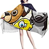 JUGUU Pasminas Mujer Inviernomanta De Chal De Lana De Dibujos Animados Con Alas De Pájaro Y Perro Animal Para Mujer, Bufandas De Moda De Boda Mexicana Pashmina De Diseñador De Cachemira-Los 70X200