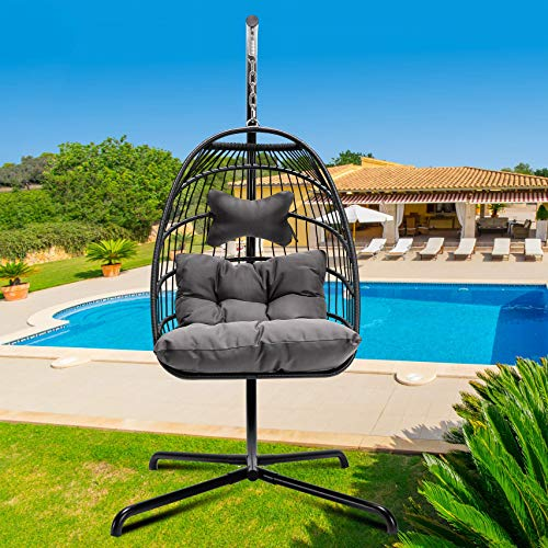 YeSea Egg Chair Aluminum Frame Swing Chair in Door Outdoor Hanging Egg Chair Patio Wicker Hanging...