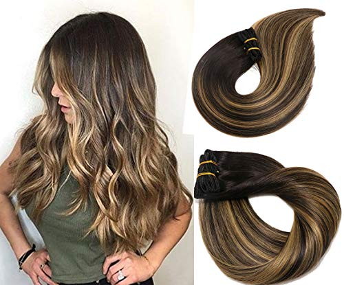 Clip In Human Hair Extensions Thicken Double Weft 9A Brazilian Hair 120g 7pcs Natural Black to Honey Blonde Highlight Black Full Head Silky Straight 100% Human Hair Clip In Extensions 16 Inch