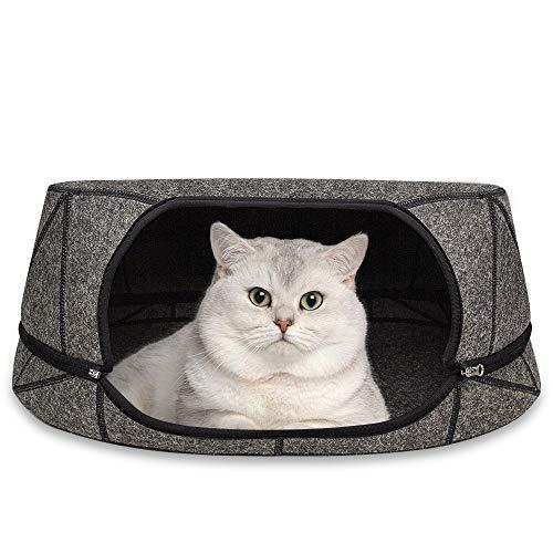 GoZheec Cama para gatos de fieltro, cueva para gatos de verano, con alfombrilla lavable, cama extraíble con cremallera, apta para todas las estaciones (gris)