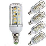 Bombilla de luz LED de 12 voltios y 6 vatios , G9 / E12 / E14 / E27 12-80v de bajo voltaje , Bombilla de luz de 6w - Equivalente de halógeno de 40w - Sistema solar fuera de la red Paquete de 5 luces L
