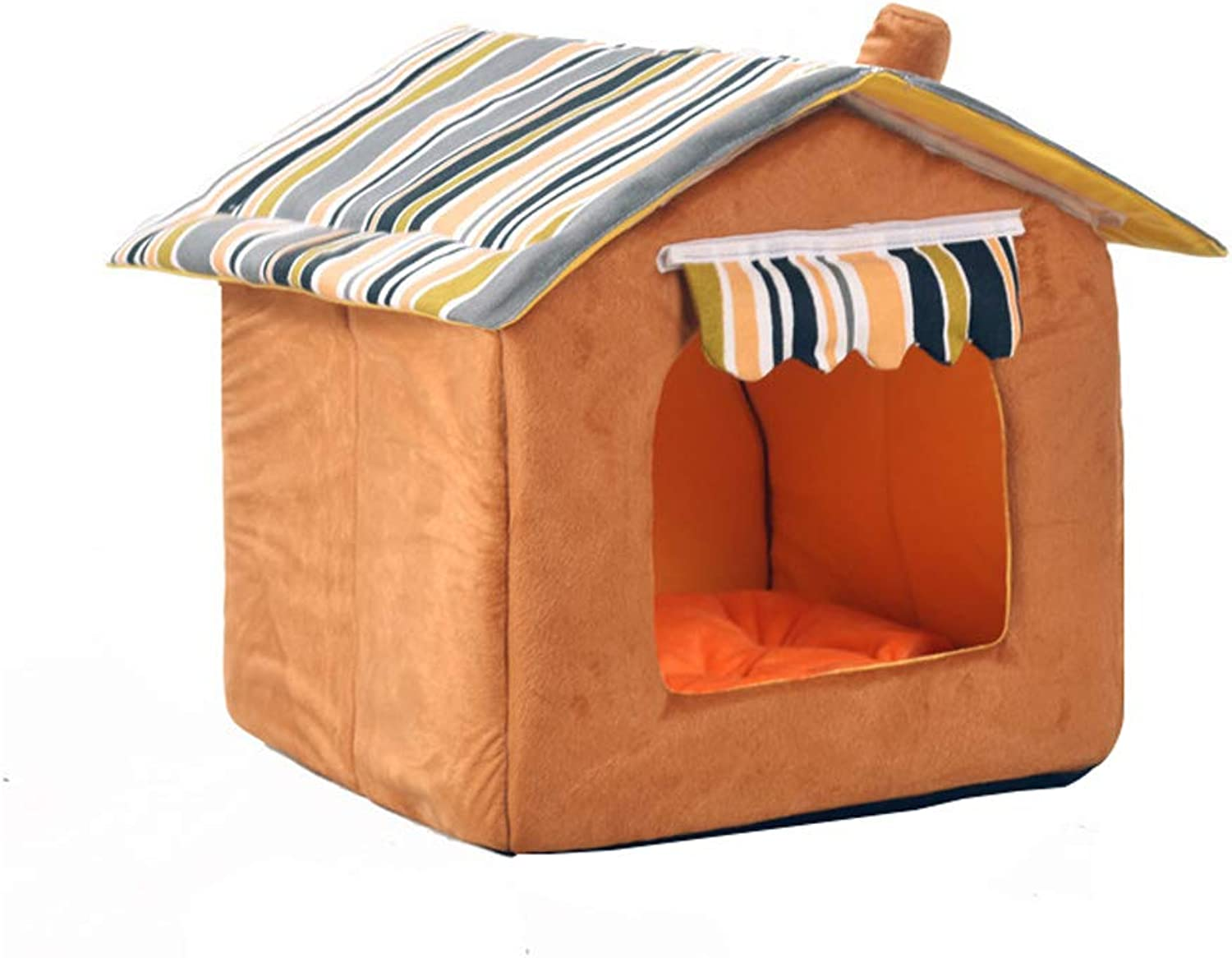 Kennel QIQIDEDIAN VIP Teddy Bear golden Retriever Pet Nest Small And Medium Dogs Detachable Cat Small House Cat Worm (color   Brown, Size   S 35  35  30)