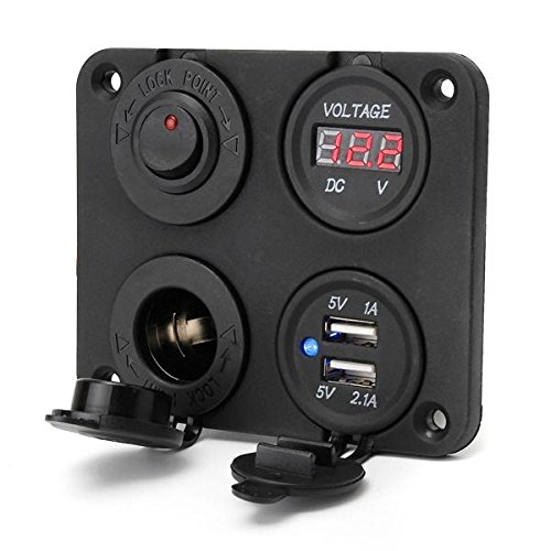 CALALEIE Adaptadores de cargador USB doble y panel de interruptores y medidores de voltios digitales Piezas de decoración de motos nuevas