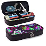 XCNGG Estuche para lápices neceser Pink and Green Masks On Dark Seamless PatternLeather Pencil case, Waterproof, Fashionable and Durable, can be Used for Students, Schools, Offices, Colleges