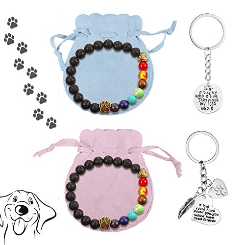 LATTCURE Juego de pulsera para mujer con diseño de huella de animal y 2 bolsillos de franela