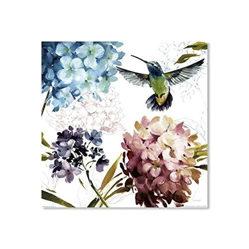 JXMK aquarel canvas kunst bloem paarse hortensia schilderij moderne huisdecoratie kolibrie vogel dier poster muur kunst foto