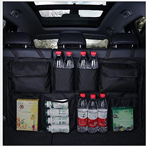 S SMAUTOP Organizador de maletero de coche, organizador de asiento trasero, bolsa de asiento grande, bolsa de maletero con hebillas elásticas y velcro, bolsas de maletero resistentes a desgarros