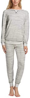 Felina Women's 2 Piece V-Notch Crew Neck & Jogger Lounge Pajama Set