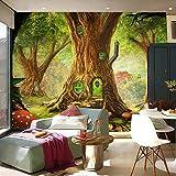 LSDAMW Papel Pintado Mural Personalizado Foto Anime Casa Del Árbol Árboles Setas 250X175Cm 3D Imagen Decoración De La Habitación Pintura Murales De Pared Mural Autoadhesivo Decoración Del Dormitorio D
