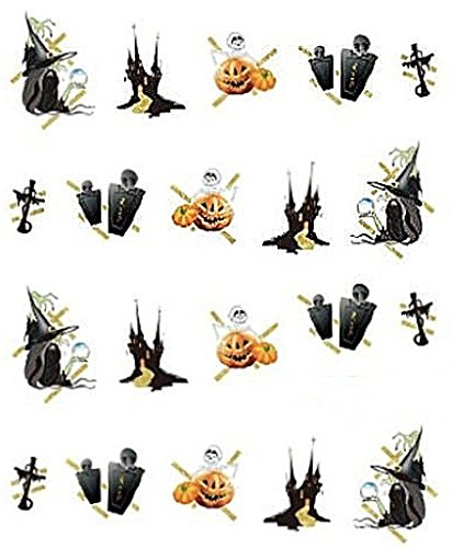 CM Nail Art manucure Stickers Ongles décalcomanie Scrapbooking: Déco Halloween Croix citrouilles sorcières