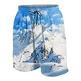 GKGYGZL Trajes de baño Personalizados para Hombres,Paisaje de montaña,Pista de esquí,Deportes de Temporada de Invierno,Telfer e Imagen de Snowboard,Shorts de baño de Secado rápido para Playa XL
