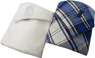 [ポロ ラルフローレン] Polo Ralph Lauren 紳士 メンズ ハンカチ タオルハンカチ2枚 ポロ刺繍 専用箱入り ホワイト/青チェック