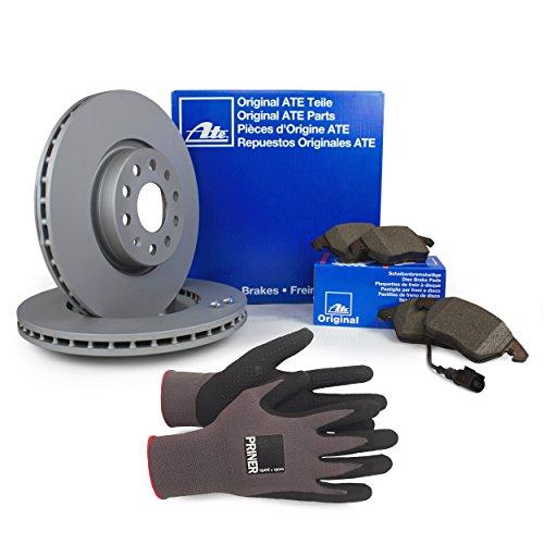 Inspektionspaket ATE Bremsen Set inkl. Bremsscheiben Ø 288 mm und Bremsbeläge für vorne enthalten, 100% passend für Ihr Fahrzeug, inkl. Priner Montagehandschuhe, AN172