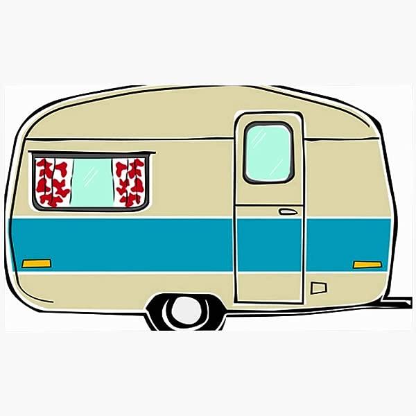 Ahawoso Doormat Door Mat 16x24 Blue Camp Retro Happy Vintage Travel Trailer Caravan Red 50S Home Cute California Trip 1970 Mountains Machine Washable Non Slip Mats Bathroom Kitchen Decor Area Rug
