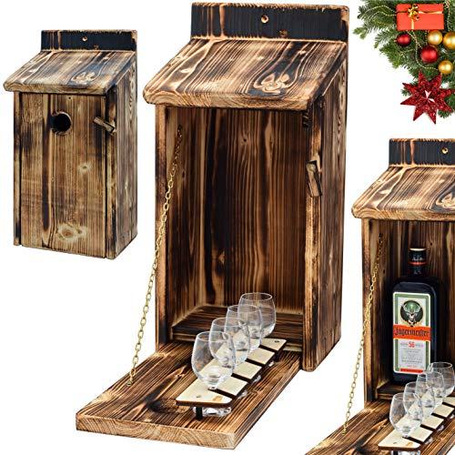 Alcohol Cage® - Holz Vogelhaus mit Platz für Flasche Schnaps und Glas Lustige Geschenke Männer für den Garten Zwitscherbox mit Minibar Lustig Geschenk zum Geburtstag für Mann Vatertagsgeschenk