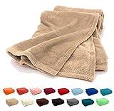 Fashion&Joy Premium Flanell Kuscheldecke Super Soft 200 x 150 cm XL in Sand beige - pflegeleicht - fusselfrei - geprüfte Qualität - Ökotex zertifziert - Wohndecke Natur Typ380