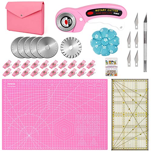 45mm Rotary Cutter Set for Fabric,Rotary Cutter Kit with Rotary Cutter,A3 Self Healing Cutting Mat, Patchwork Ruler, Craft Clip, Craft Knife Set, Storage Bag-Ideal Gift on Mother's Day