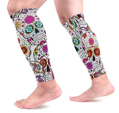 visesunny Fun Sugar Skull Printed Sports Compression Sleeves Leg Performance Support Shin Splint, Calf Pain Relief - Men, Women, Runners