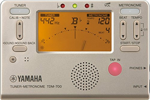 Yamaha TDM-700G Gold Tuner Metronome with Dual Function for Tuner and Metronome Simultaneously Sound Back Function Perfect for Daily Practices