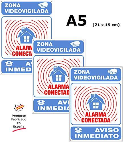 Pack o Lote de 3 Carteles Disuasorios Interior/exterior Premium y Ultra-resistentes Metálicos, Carteles Disuasorios Alarma Conectada Aviso policía, 21x15 cm