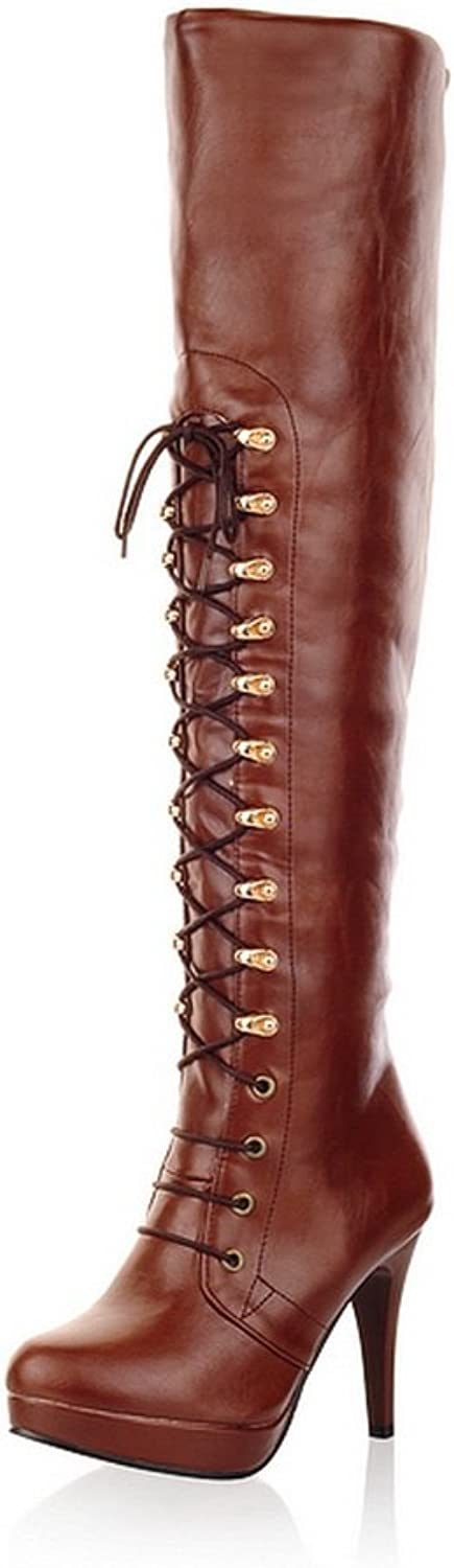 Queenfashion Women's Sweet Style Solid High Leg Boots with Metal Snap and Lace-up