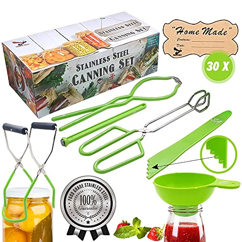 """Supa Ant Stainless-Steel Canning Kit: Jar Lifter, Jar Wrench, Tongs, Lid Lifter, Extra Wide Funnel, Bubble Popper & 30""""Home Made"""" Jar Labels - Canning Kit Essentials-Green"""