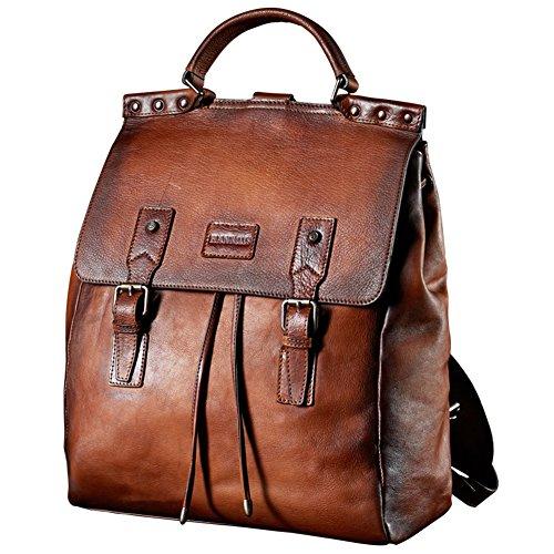 Denny&Dora Rucksack für Herren, aus Rindsleder, für Business und Freizeit, Vintage-Stil, Rindsleder, Braun - braun - Größe: Large