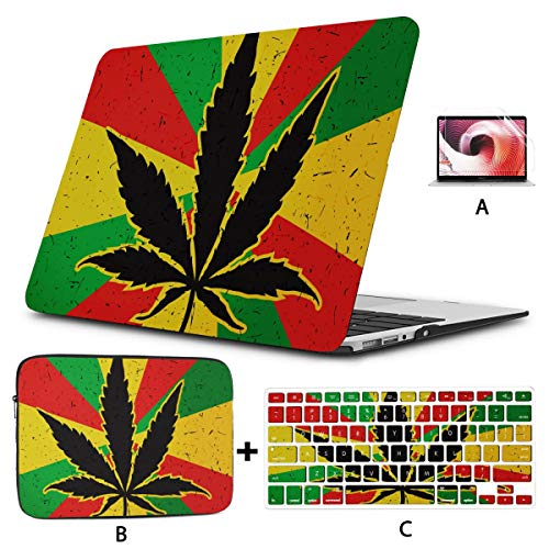 New Macbook Air Case Cool Green Cannabis Leaf Icon Macbook Cover 13 Inch Hard Shell Mac Air 11'/13' Pro 13'/15'/16' With Notebook Sleeve Bag For Macbook 2008-2020 Version