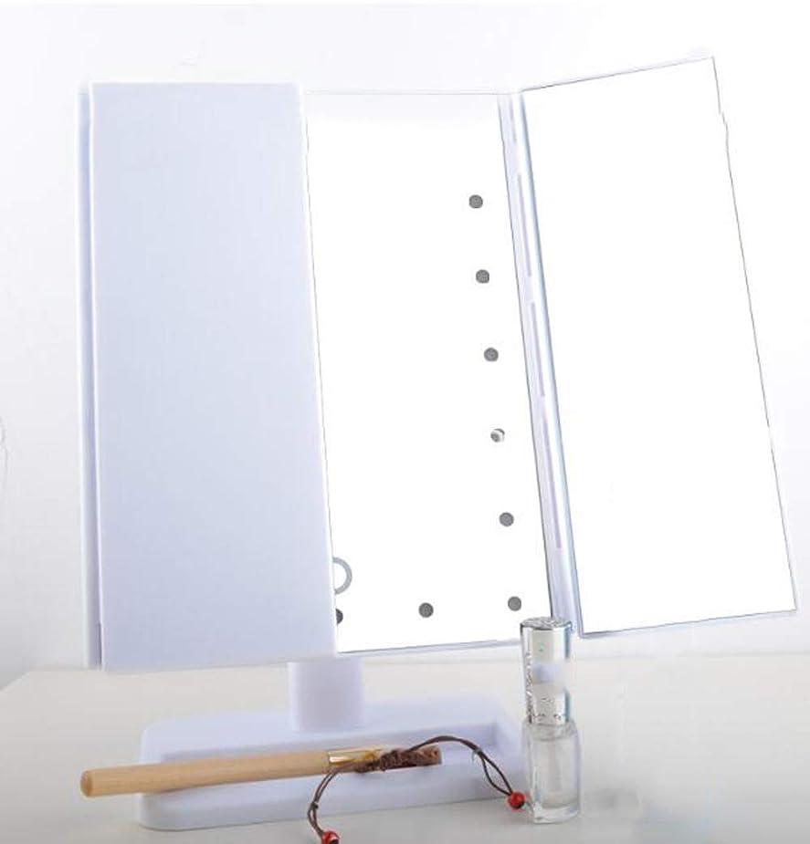 略すシエスタ犬ポータブル 3折りたたみ式 化粧鏡 LEDランプ 発光調整ライトミラー 拡大鏡 2&3倍 明るさ調節可能90° 電池型