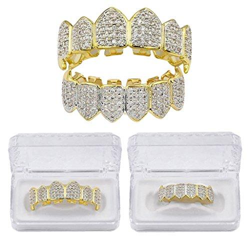 MagiDeal Kristall Verschönerung obere & untere + 2 Modellierelemente - Zahn Schmuck - Gold