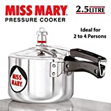 Hawkins Miss Mary Aluminum Pressure Cooker, 2.5 litres, Silver