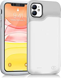 iPhone 11 Battery Case, Euhan 6000mAh Ultra Thin Rechargeable Portable Power Charging Case For iPhone 11 (6.1 inch) Extended Battery Pack Power Bank Charger Case (White)