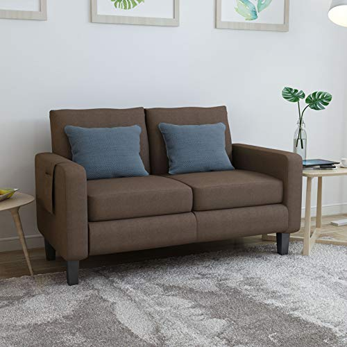 Mecor Modern Loveseat Sofa Linen Fabric 2-Seat Couch w/Thick Cushion and Deep Seat Mid-Century Upholstered Accent Arm Sofa Love Seat for for Living Room, Office,Bedroom, Apartment, Small Space