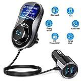 Bluetooth Car FM Transmitter,Bluetooth Radio Adapter Transmitter Adapter Car Kit Hands-Free Calling 1.44'...