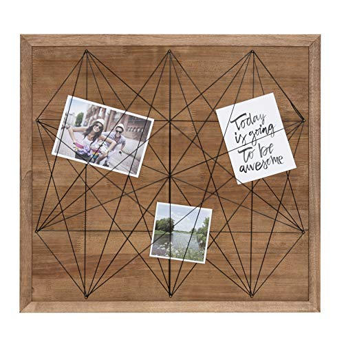 Kate and Laurel Taffy Framed Photo Gallery Collage Board Wall Organizer, Rustic Brown 21.5 x 20