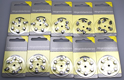 60 Hörex Hörgeräte Batterien Größe 10