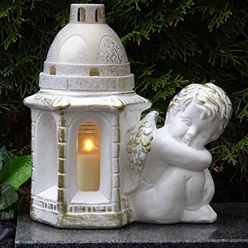♥ Grablampe Grablaterne Engel Massiv 22,0cm Weiss Bronze incl. Grabkerze Grablicht Grabschmuck Grabdekoration Grableuchte Laterne Kerze Lampe Licht