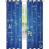 cortinas de dormitorio, Química Tv Show Inspirado Imagen con Elemento Periódico de la Mesa de la Impresión de Arte, 2 Paneles W52 x L72 Sala de estar Dormitorio Cortinas de la Ventana, Azul y Blanco