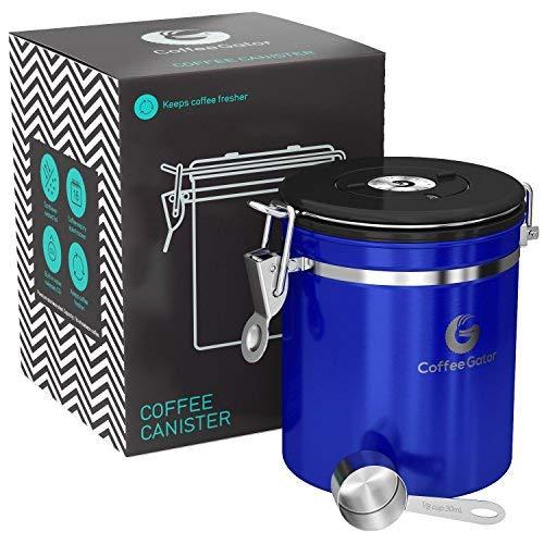 Coffee Gator-Edelstahl-Kaffeedose – Hält gemahlener Kaffee und Bohnen länger frisch – Behälter mit Datumsverfolgung, CO2-Freigabeventil und Messlöffel - Mittel - Glänzend Blau
